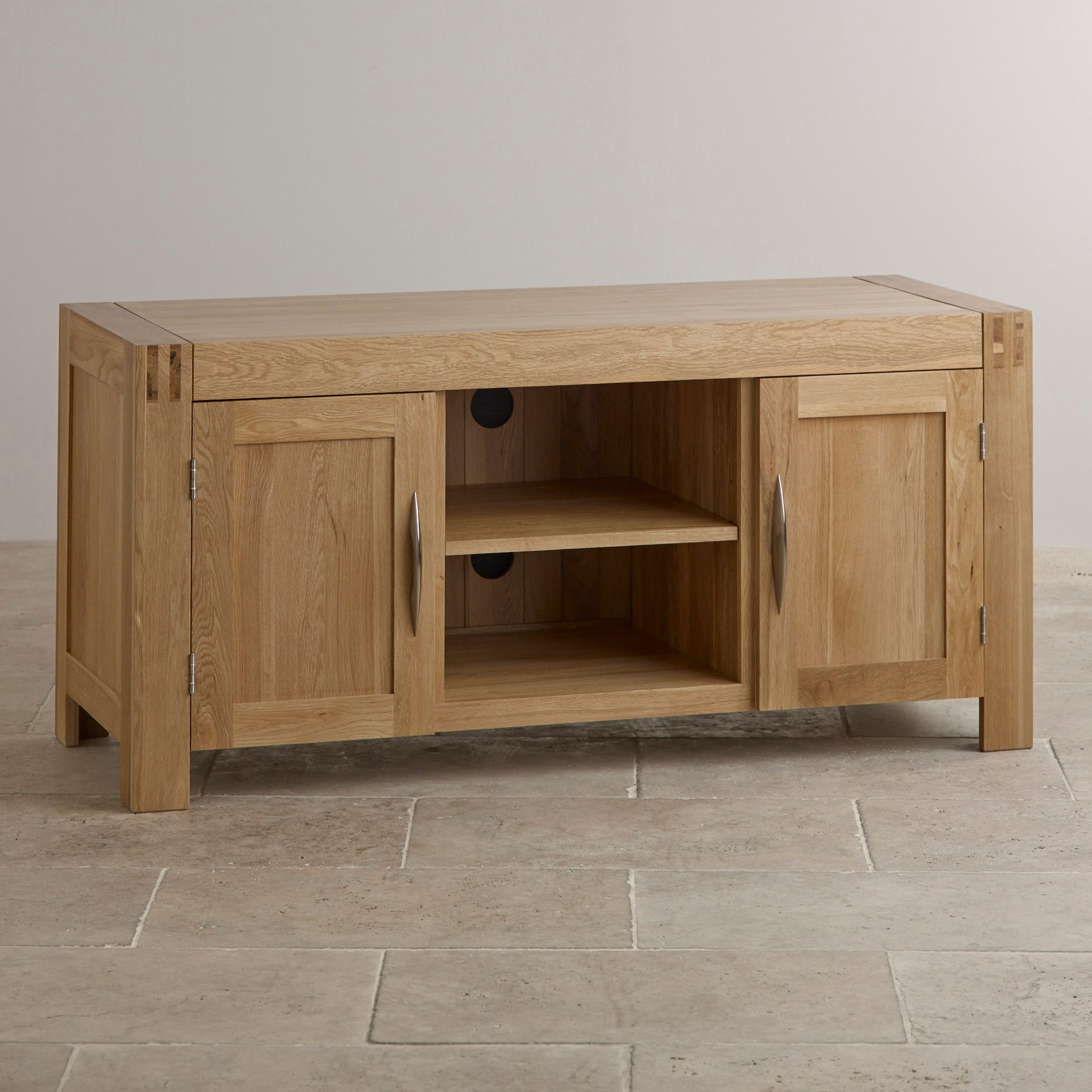 Alto natural solid oak large tv cabinet solid oak oak for Oak furniture land