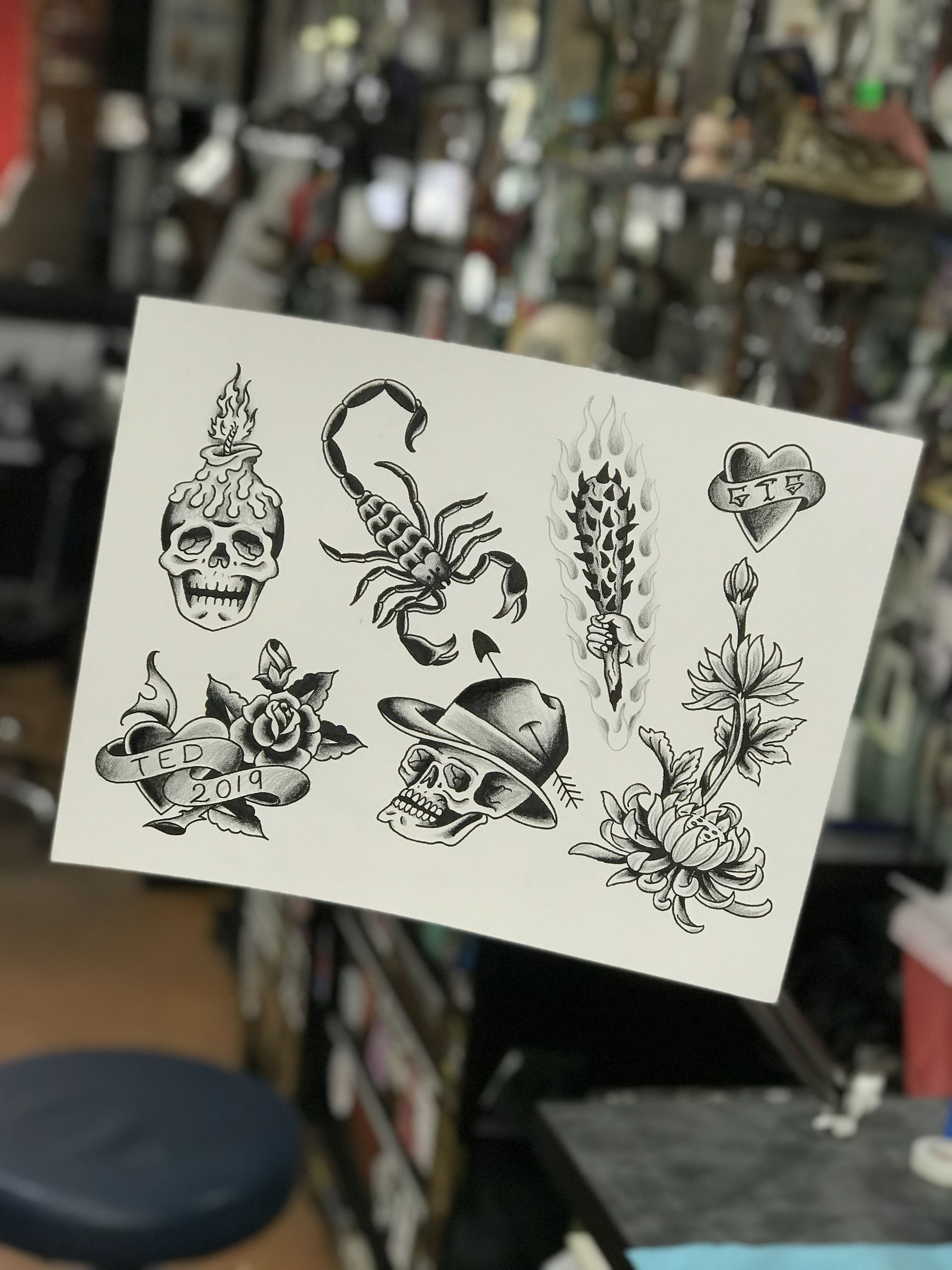 By edgeted in wilmington nc traditional tattoo flash