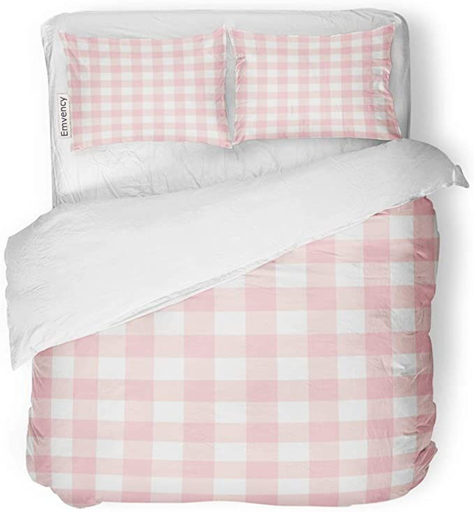 Amazon Com Sanchic Duvet Cover Set Red Check Pastel Pink Plaid Gingham Checkered Pattern Decorative Bedding Pink Bed Sheets Duvet Cover Sets Soft Colors Room