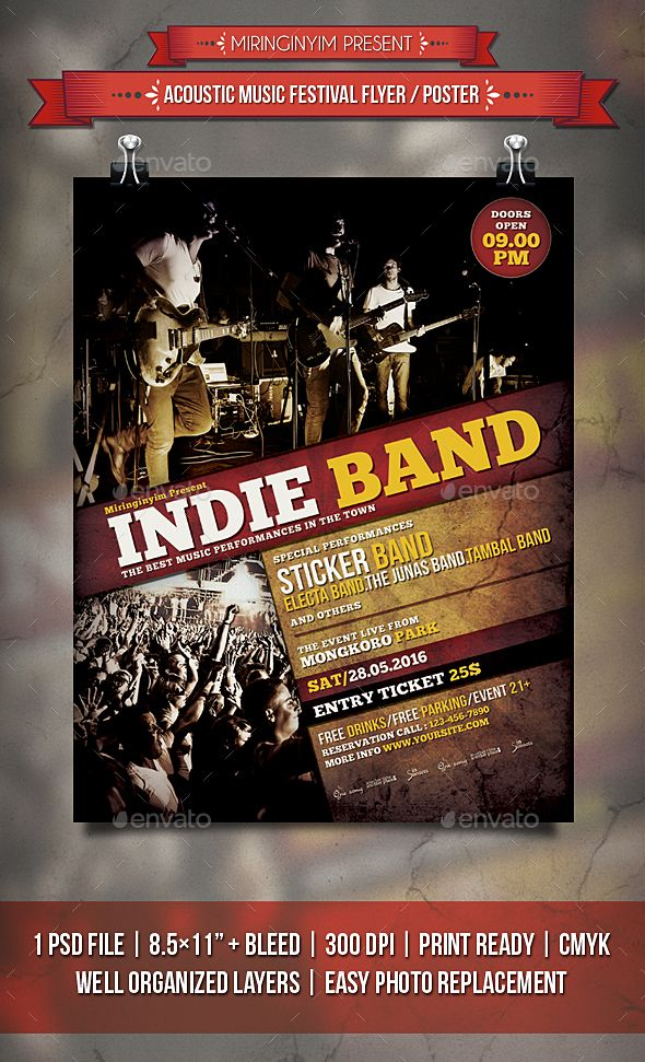 Indie Band Flyer \/ Poster Indie, Flyer template and Party flyer - band flyer template