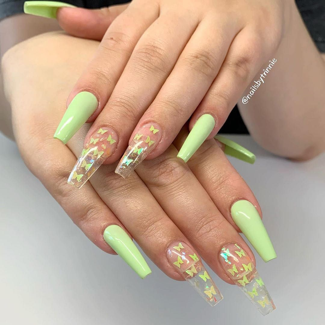 Lime Green And Yellow Ombre Nails Coffin Shaped Long Set With Accent Clear Nail With Butterfly Glitter Manic In 2020 Green Acrylic Nails Green Nail Designs Lime Nails