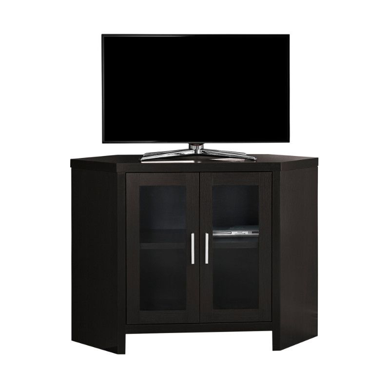 Tv Stand 42l Cappuccino Corner With Glass Doors Entertainment