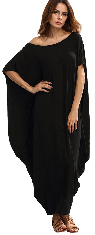 e26fc69217f Verdusa Women s Boho One Off Shoulder Caftan Sleeve Harem Maxi Dress ...