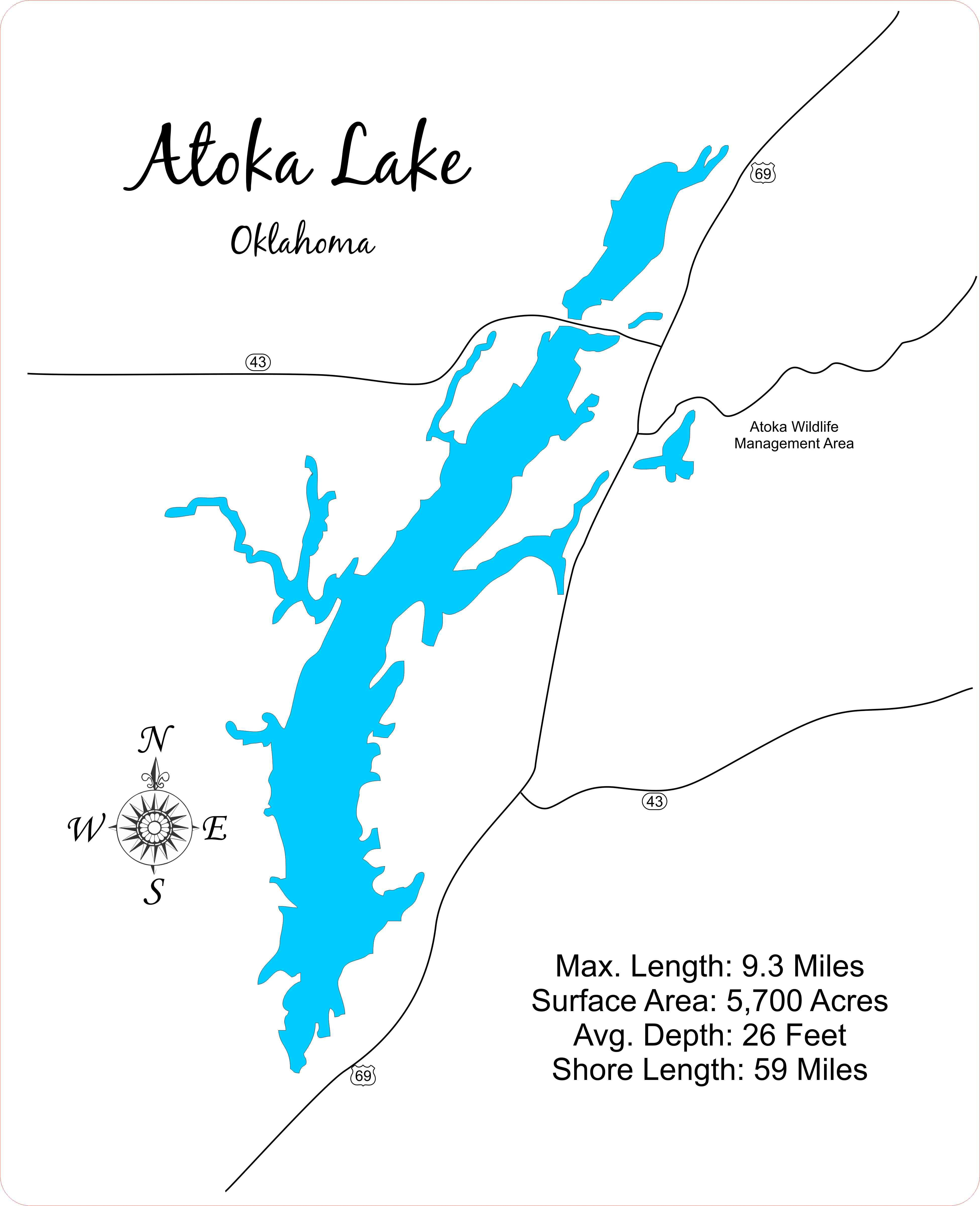 8b9f86e8dd9 ... and precision cut topographical Map of Atoka Lake in Atoka County,  Oklahoma with the following interesting stats carved into it: Max. Length:  9.3 Miles ...