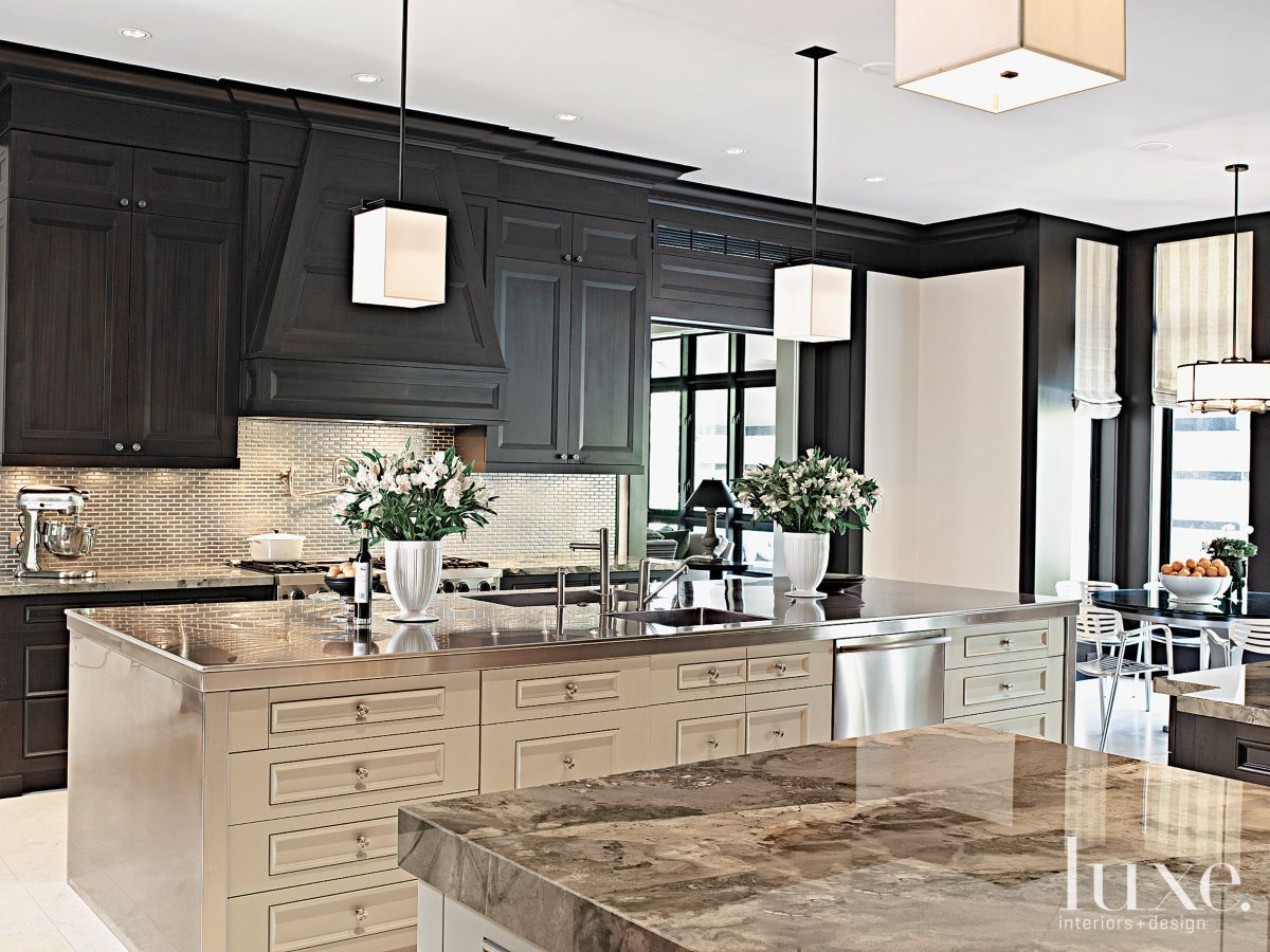 Contemporary Cream Kitchen With Geometric Pendants LuxeSource - Luxury home designs magazine