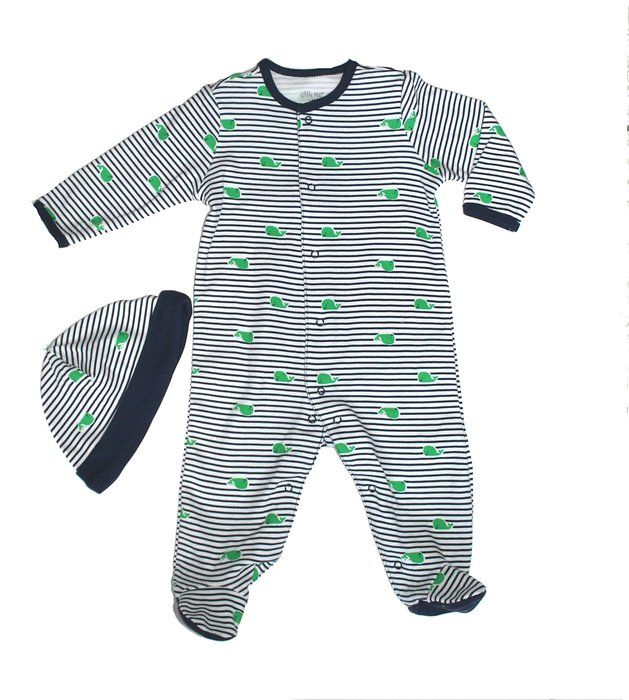 e890240c121  16.00 Little Me Striped Whale Onesie with Hat (3M)
