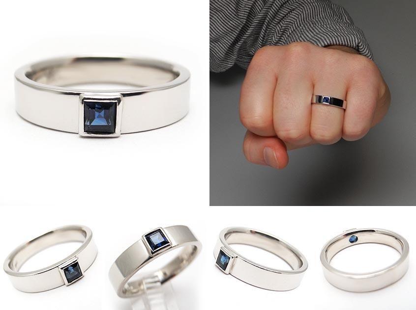 mens estate blue sapphire wedding band ring solid platinum eragem mens sapphire diamond rings 846x632