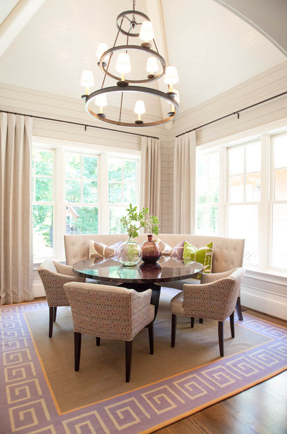 Custom Curved Banquette Dining Room With Round Table Dining Room