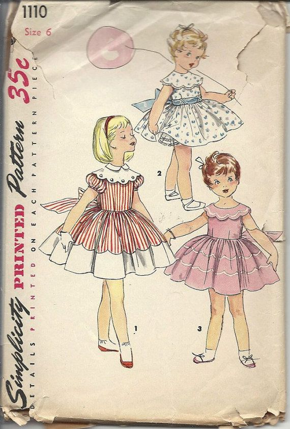 Simplicity 1110 1950s Vintage Sewing Pattern Girls Dress One Piece ...