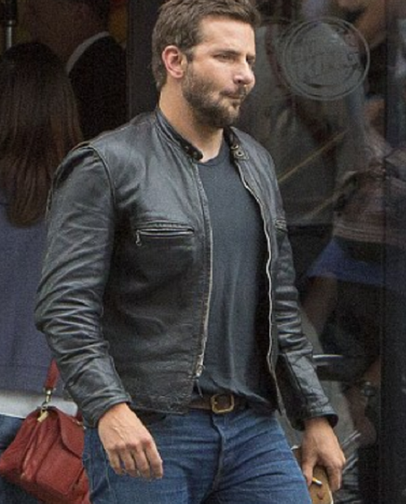 28c057228 Bradley Cooper Burnt Black Leather Jacket | Bradley Cooper ekkor: 2019
