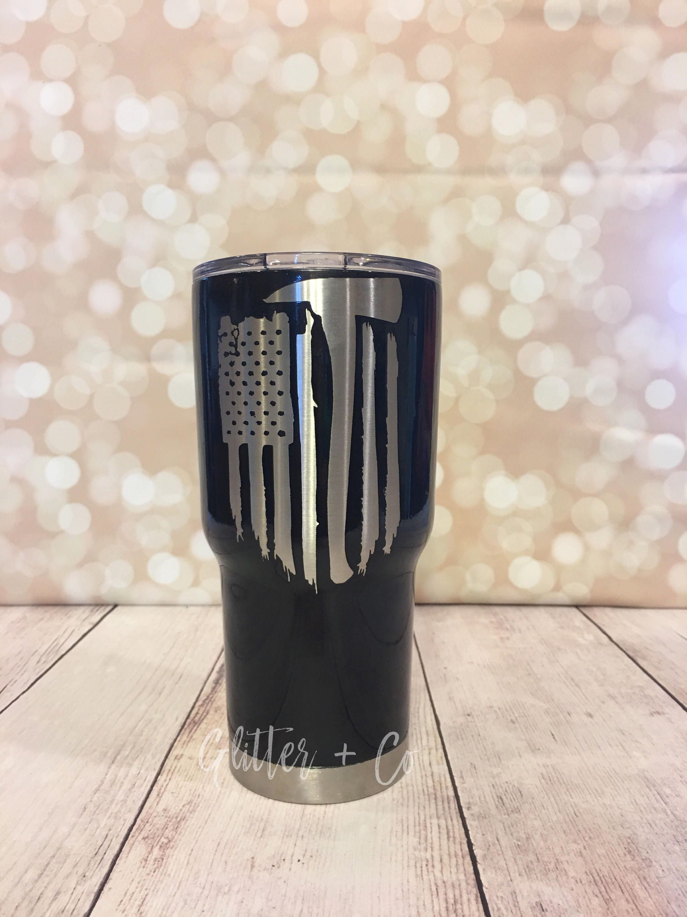 eaae27a963b American Flag Firefighter Ax Powder Coated Yeti-Style Tumbler   Firefighter  Ax   Custom Yeti-Style Tumbler   Personalized Cup   HOGG by  GlitterandCoGifts on ...