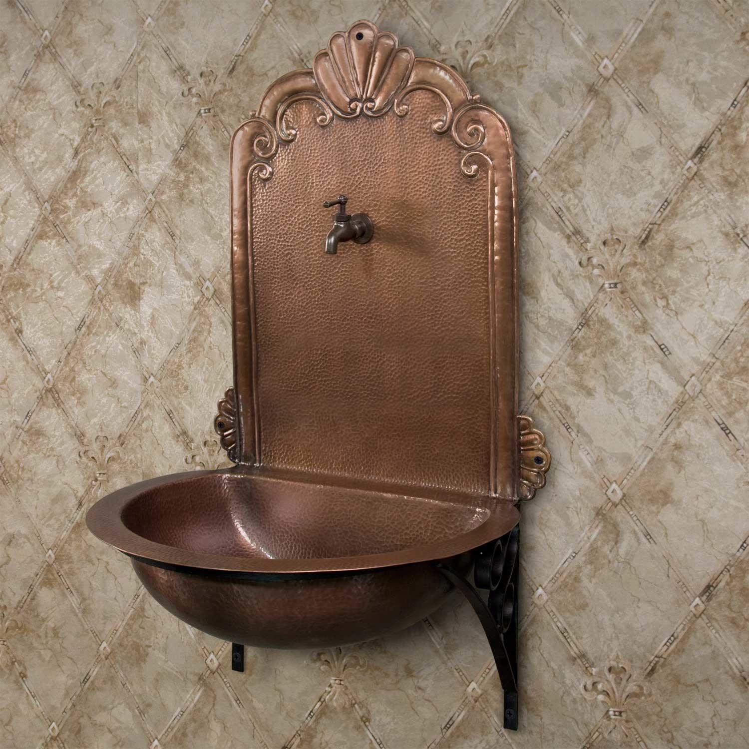 Copper Wall Mount Fountain Niche Sink With Wrought Iron Bracket