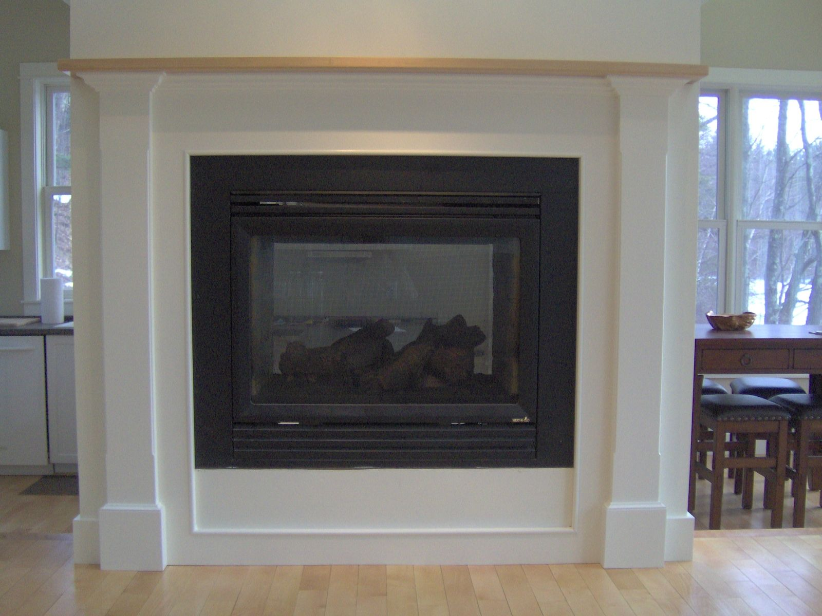 Fireplace surround with solid Maple mantel
