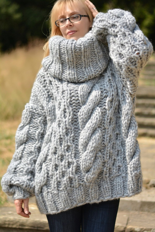 Wool Sweater Grey: Wool Sweater Handmade Tneck Jumper Hand Knitted Wool
