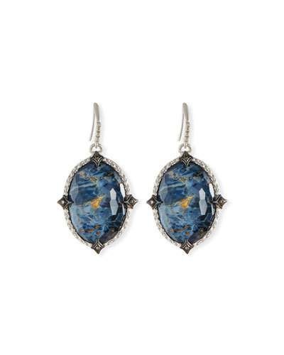 Armenta New World Pietersite Marquis Earrings with Diamonds