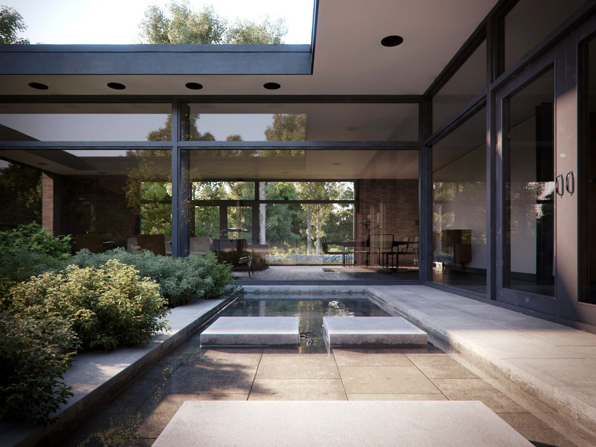 The hodgson house in new canaan connecticut designed in 1951 by philip johnson