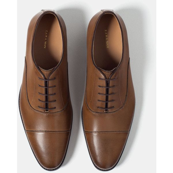 Zara Oxford Shoes ($80) ❤ liked on Polyvore featuring men's fashion and  men's shoes