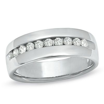 Mens 12 CT TW Channel Set Diamond Wedding Band in 14K White