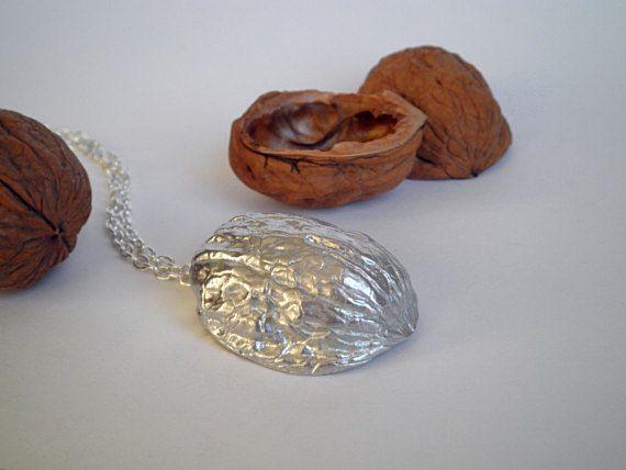 Handmade walnut shell necklace in pewter nut pendant woodland pewter walnut shell necklace walnut jewelry nut pendant by farjil 2750 aloadofball Gallery