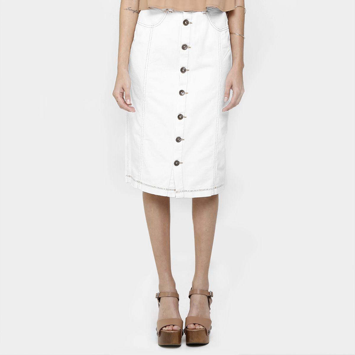 231c7f8bf Compre Saia Colcci Midi De Botões Off White na Zattini a nova loja de moda  online da Netshoes. Encontre Sapatos, Sandálias, Bolsas e Acessórios.
