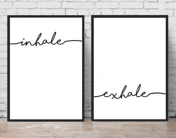 Inhale Exhale Print Yoga Wall Art Typography Prints