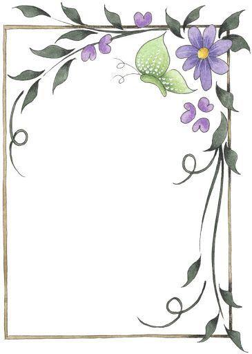 Fleurs Et Papillon Page Borders Design Clip Art Borders Borders For Paper