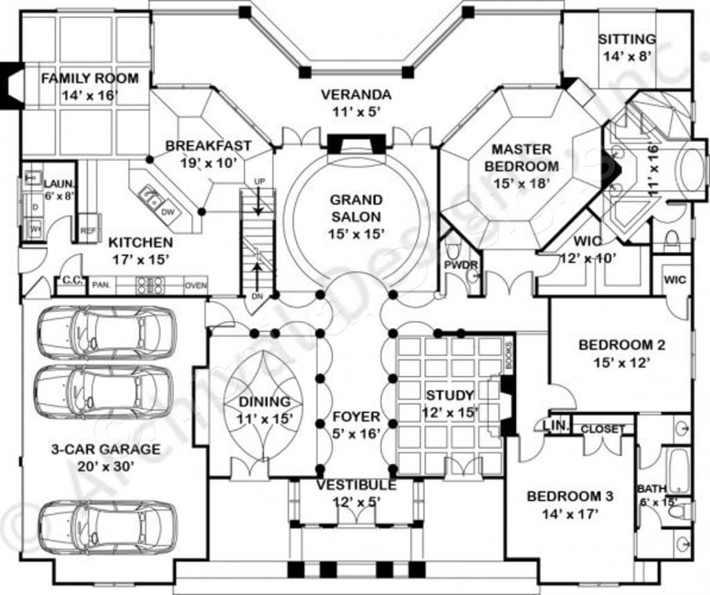 Waterford empty nester house plan ranch floor plans for Luxury empty nester house plans