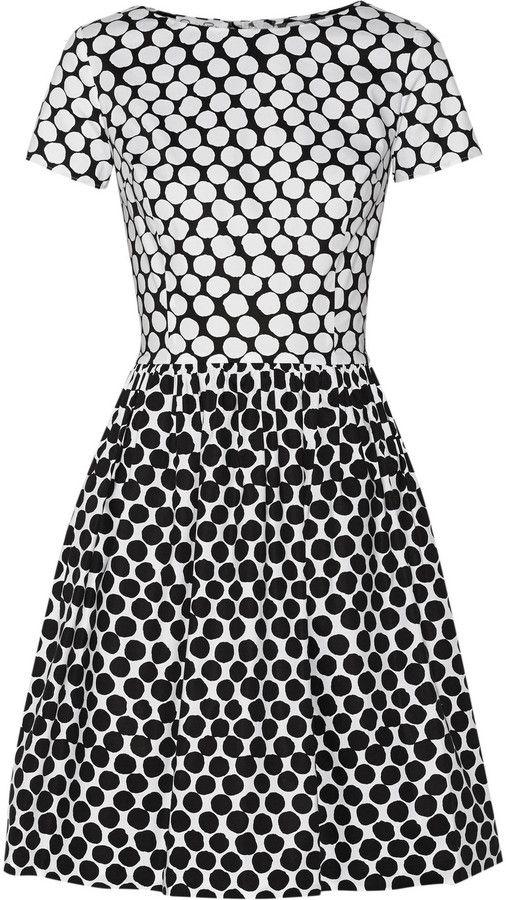 Oscar De La A Polka Dot Cotton Blend Poplin Dress