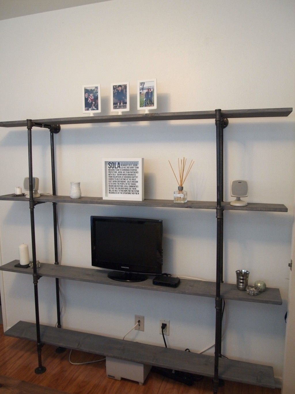 Licious industrial ladder bookcase and pipe bookshelves brick house