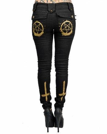 Satanic inverted cross and pentagram jeans  63fb51ca09