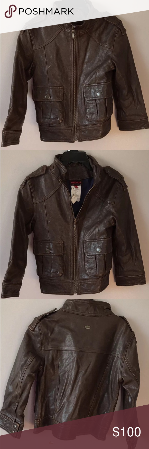 Catimini Sz 5 Brown Leather Jacket France XC pure