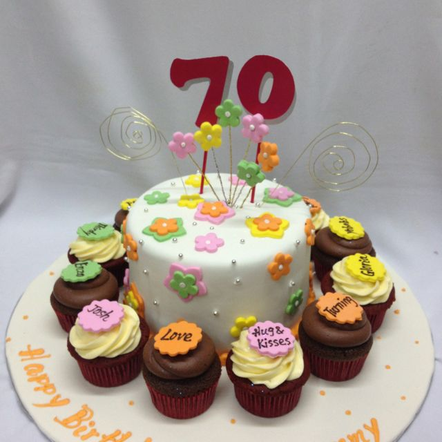 Cute idea for a 70th birthday party A small cake surrounded by