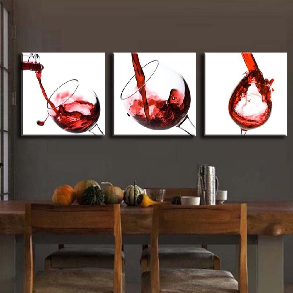 pcsset modern canvas print painting still life wine and goblet