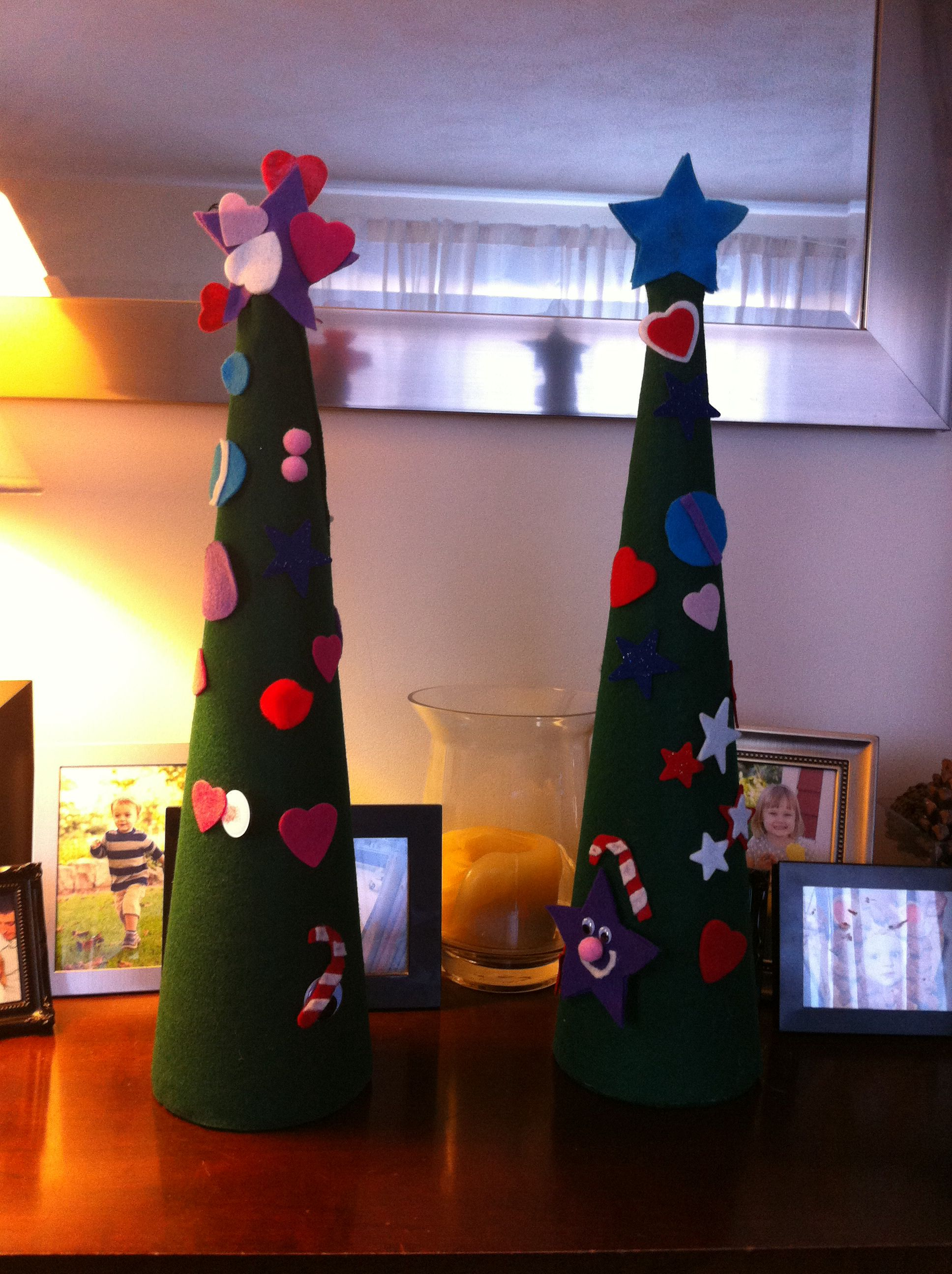 Kids Christmas project - felt over foam cone. Then they decorate it ...