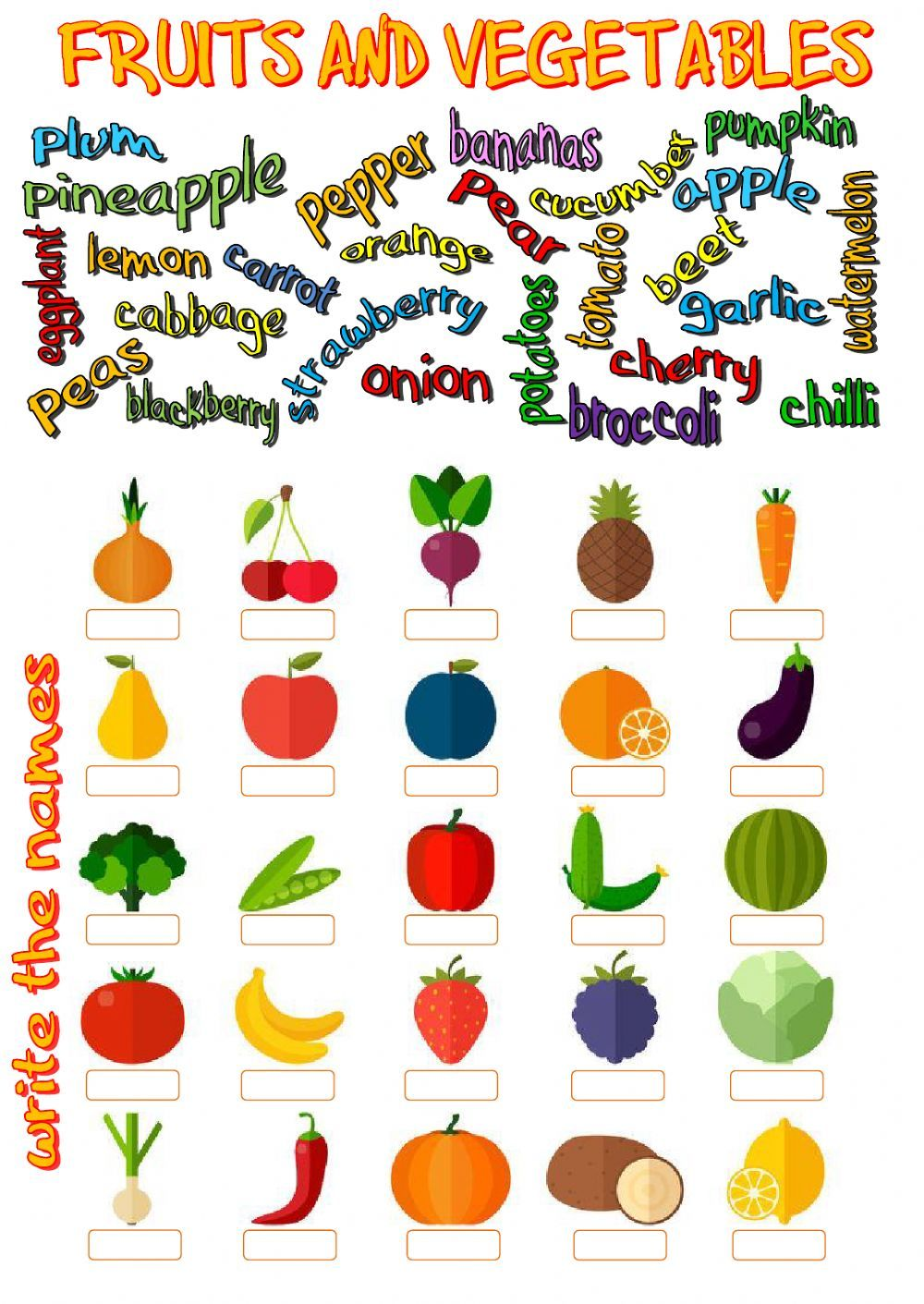 Fruits and vegetables Interactive worksheet Frutas y