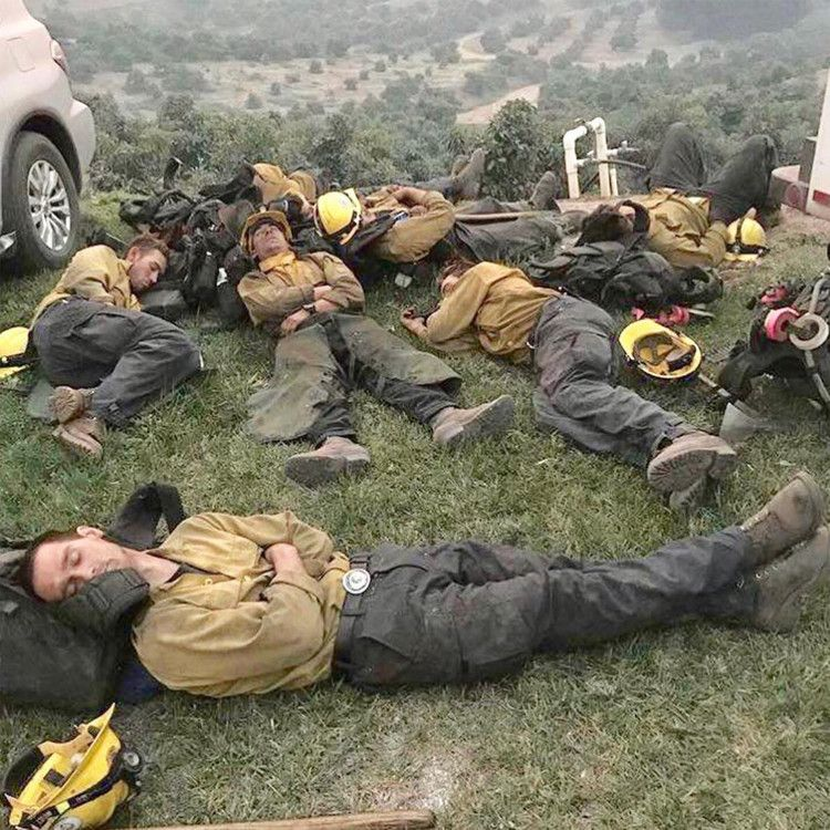 Viral Photo of Exhausted California Firefighters Sleeping