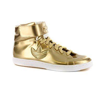 Mens Adidas Stan Smith Trefoil Metallic Gold Rare High Top Trainers UK 8   Amazon. 9dda5e2e0