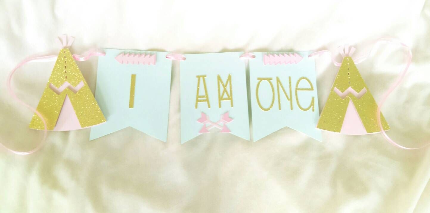 Boho I am one highchair banner, Tribal banner, gold boho birthday decoration, boho chic party by PeytonsTreasure on Etsy https://www.etsy.com/listing/288688979/boho-i-am-one-highchair-banner-tribal