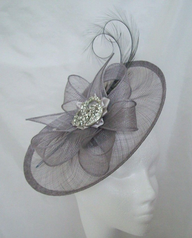 Silver Grey Diamond Lavinia Saucer Fascinator Hat 0e8b28d9146
