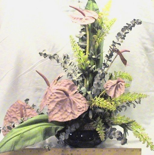 Vintage large mauve oriental silk flower arrangement in an a l explore silk flower arrangements silk flowers and more mightylinksfo