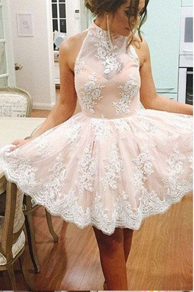 c0c581aead9 High Neck Light Pink Lace Back O Short Prom Dresses Party Homecoming Dress  LD284