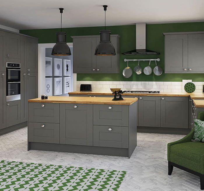 Modele De Cuisine 3d équipée Moderne, Idées Pour Aménagement De Nouvelle Cuisine  Gris Et Vert