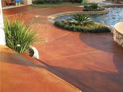 Rust Stained Pool Concrete Pool Decks Moderncrete Austin