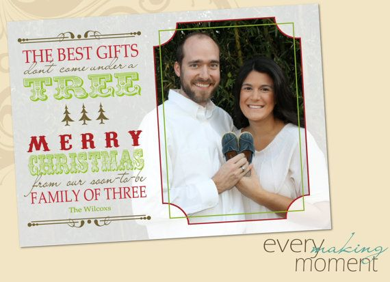 Pregnancy Announcement Christmas Card -- Christmas Photo Card ...