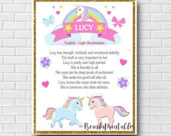Name Meaning Print, Unicorn and Rainbows, Custom Name Meaning Printable, Printable Wall Poster, Custom Download