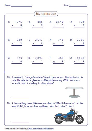 Advanced Multiplication Worksheets On 3 Digit Or 4 Digit Numbers With Single Digit Number Worksheets Multiplication Multiplication Worksheets