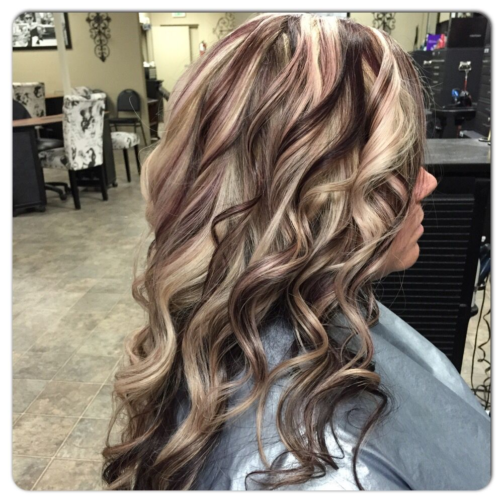 Blonde And Violet Red All Over Highlight By Janee Hair By Janee
