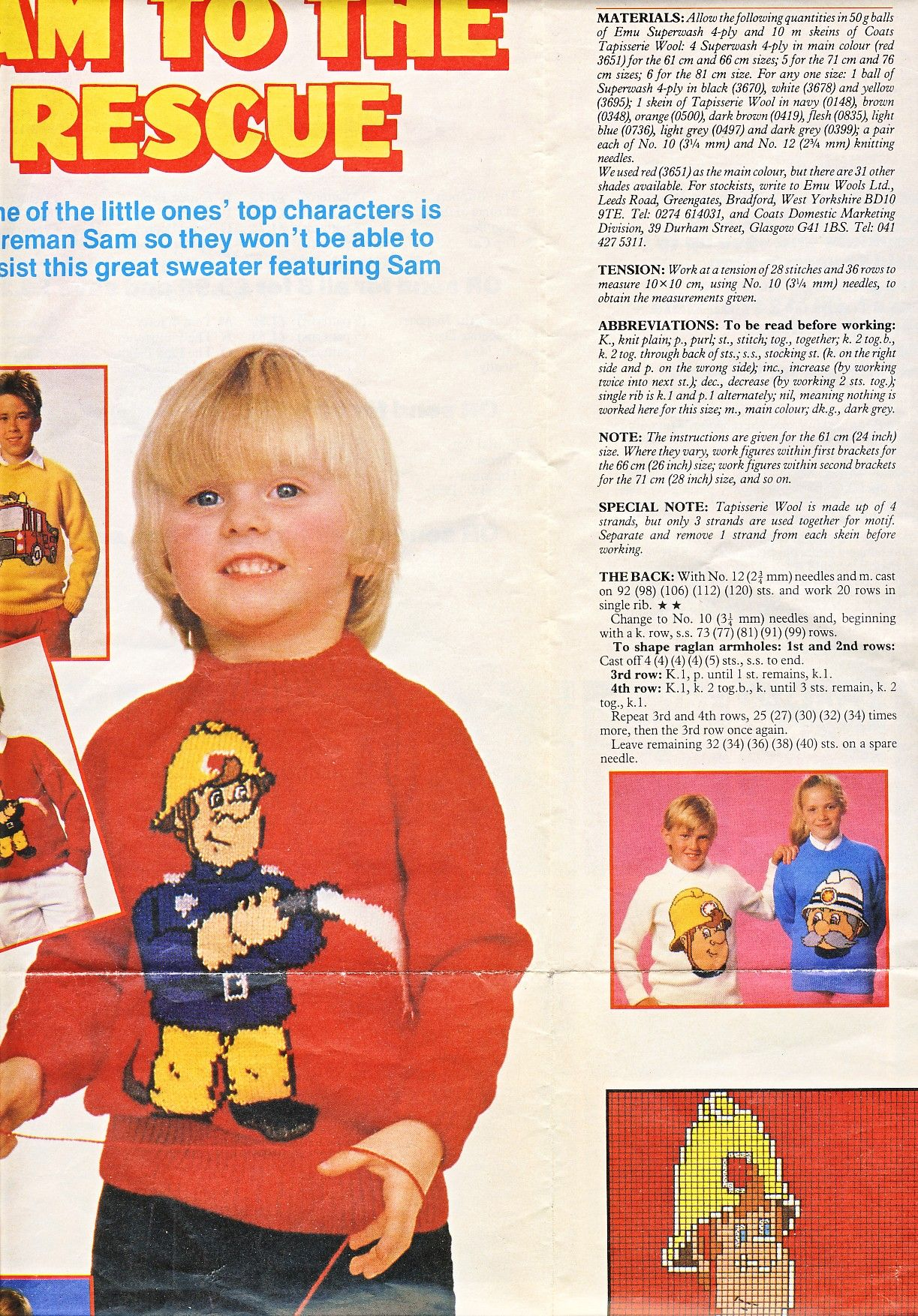 Fireman Sam Knitting Pattern Womans Weekly Pull Out Unlisted