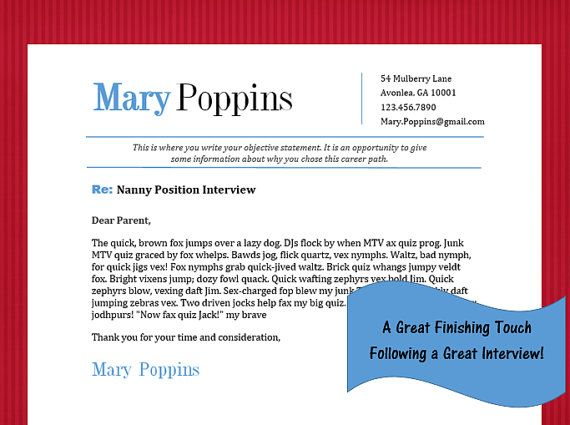 Nanny Interview Thank You Note Template Mary Poppins by - thank you note after interview sample
