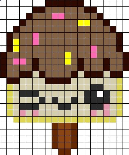 Icecream Perler Bead Pattern Bead Sprites Food Fuse Bead Patterns Pixel Art Nourriture Dessin Petit Carreau Coloriage Pixel